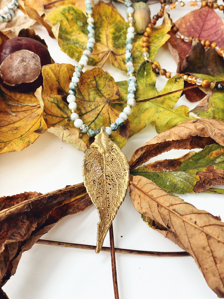 "Autumn Leaf Necklace ""Tree Agate"""