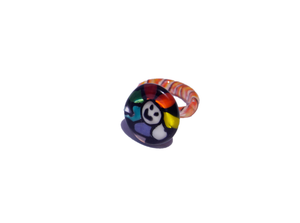 Smiley face glass ring