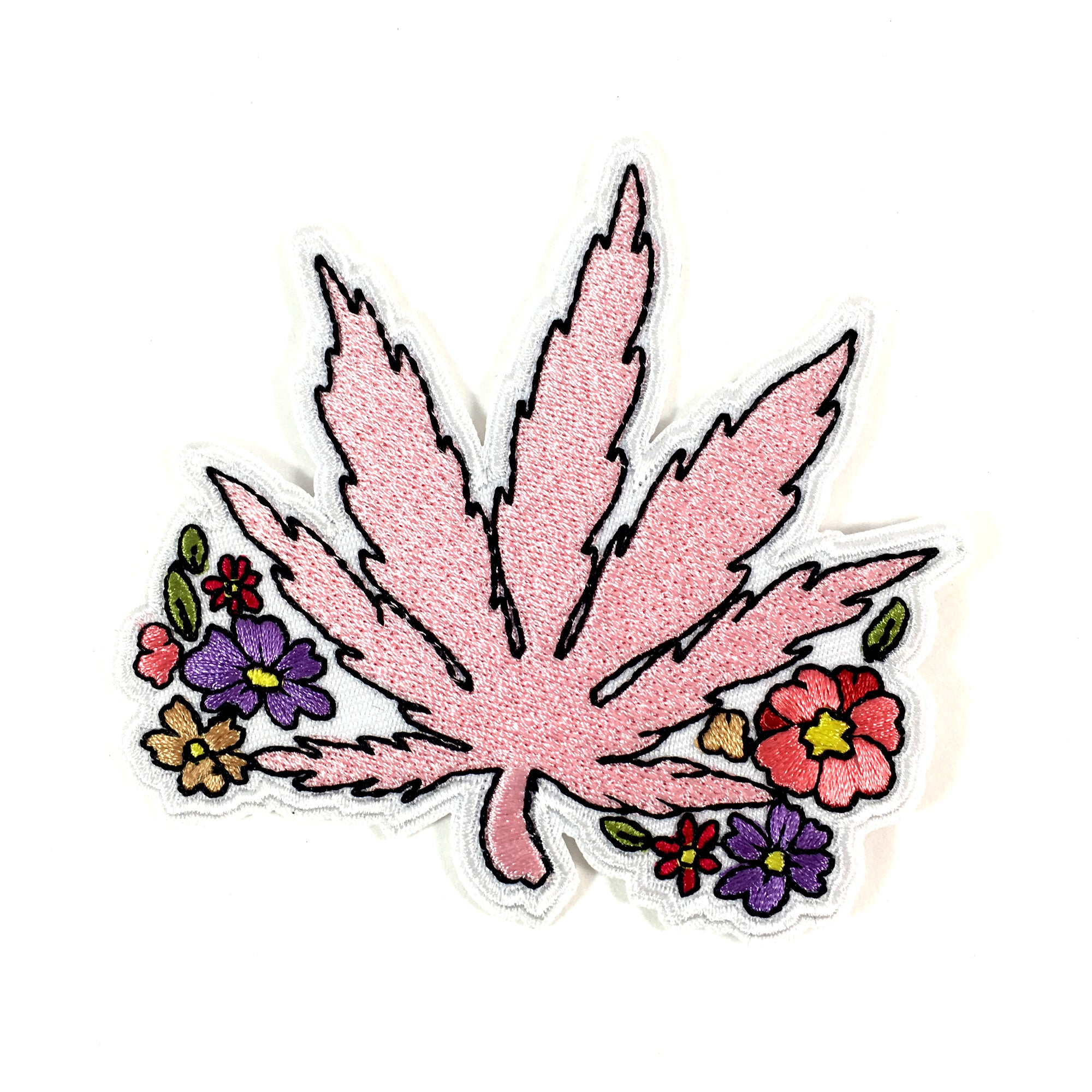 Pink Weed Iron On Patch