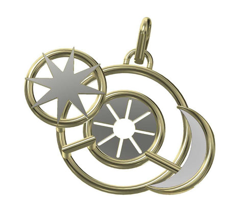 3D rendering of a Steampunk inspired pendant for men with a moon, sun and a star.