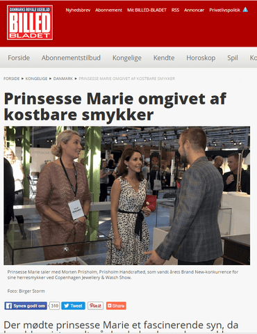 Prinsesse Marie visiting Priisholm Handcrafted to talk about men's Jewellery- Picture from Billed Bladet