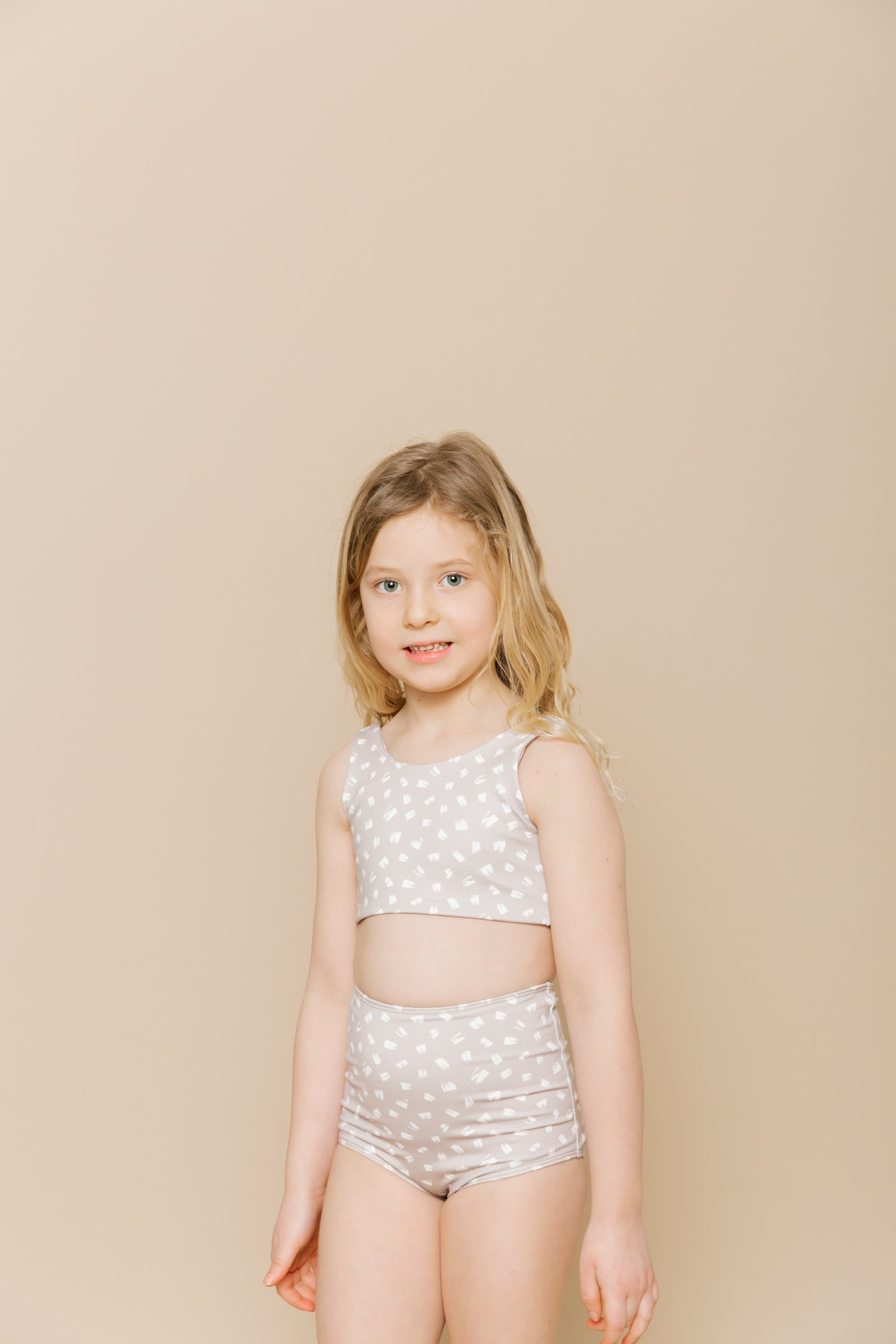 Girls High Waisted Two Piece - Sand
