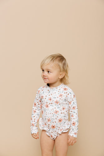 Girls Ruffle Bum Rashguard - Blooming Peach