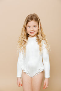 Girls Ruffle Bum Rashguard - Sage & White Stripe