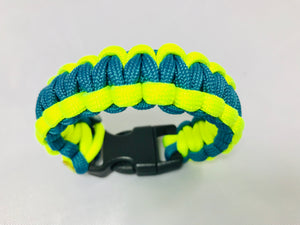 Teal and Yellow Paracord Bracelet