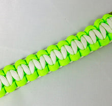 Neon Green and White Paracord Bracelet