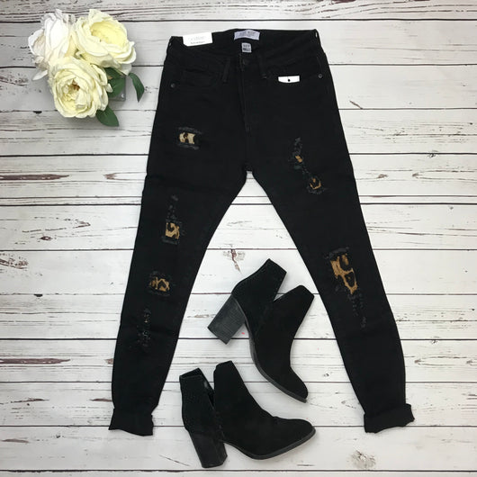 Leopard Patch Black Jeans