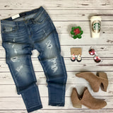 Faux Hole Denim Patch Jeans