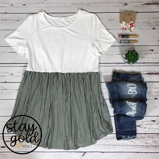 Baby Doll Striped & Solid Top