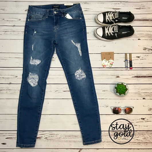Paisley Patch Jeans