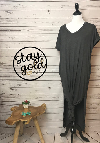 Gray Knot Pocket Dress