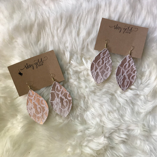Rose Gold Lace Faux Leather Earrings