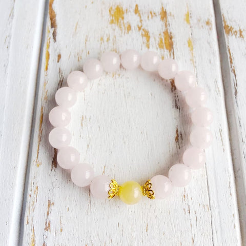 Calcite jaune & Quartz rose Bracelet