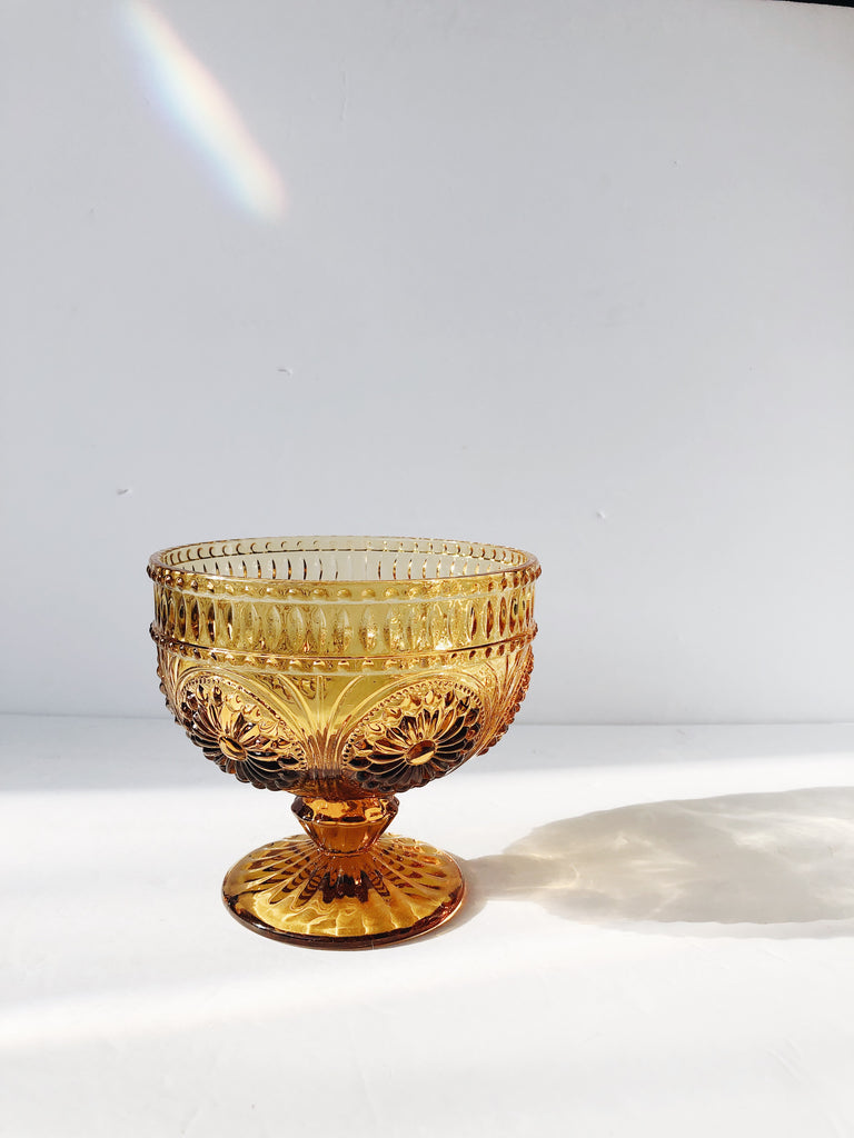 Amber Glass Footed Bowl