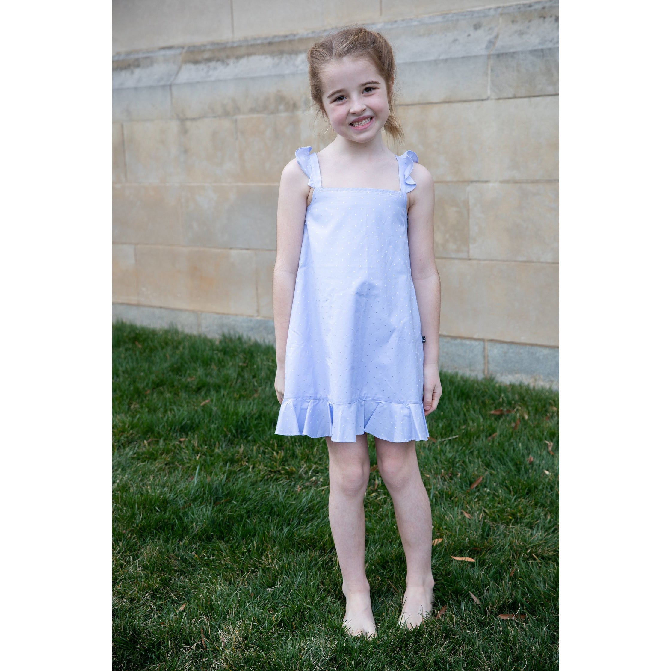 Blue Ruffle Strap Dress