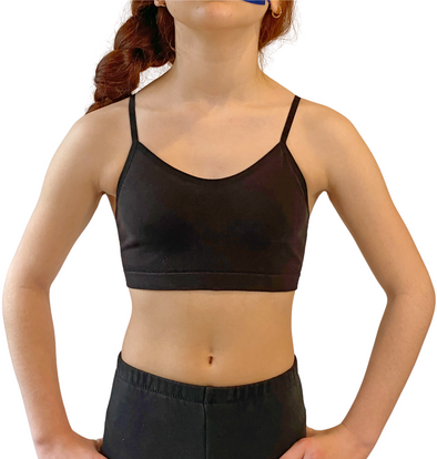 Amelia Organic COTTON Seamless Girls' Training Bra ~ Black