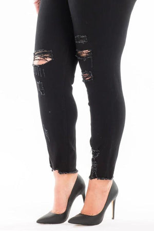 Black Distressed Kancan Jeans- Curvy