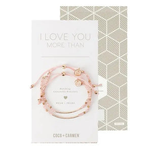 Friendship Bracelet Sets - I Love You More Than (Pink/Gold)