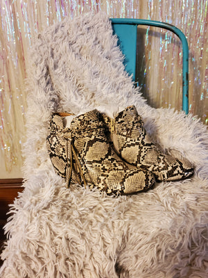 White Snake Tassel Wedge booties