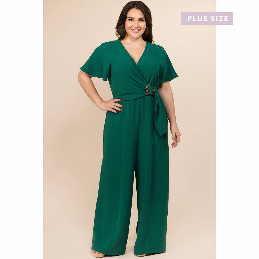 PLUS SIZE BUCKLED TRIM WRAP FULL LENGTH JUMPSUIT WITH FLUT