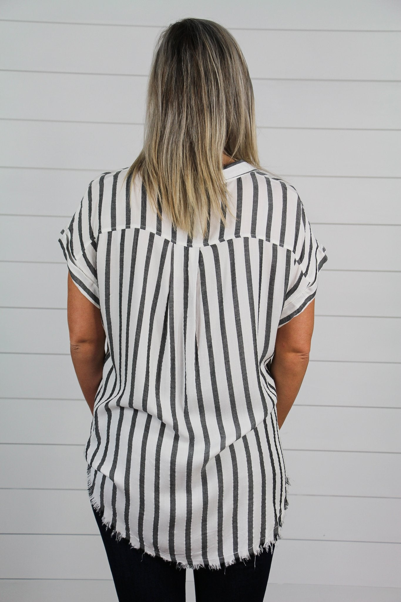 Frayed White Stripe Top