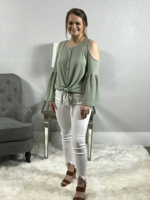 Sage Waffle Knit Top With Cold Shoulder