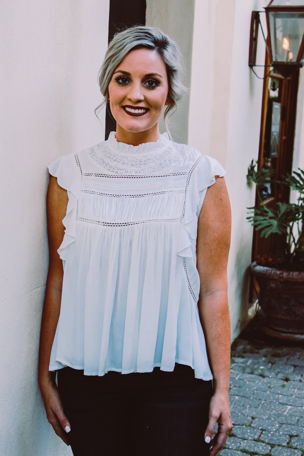 White Sleeveless Ruffle Top