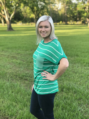 Green Short Sleeve Striped Top