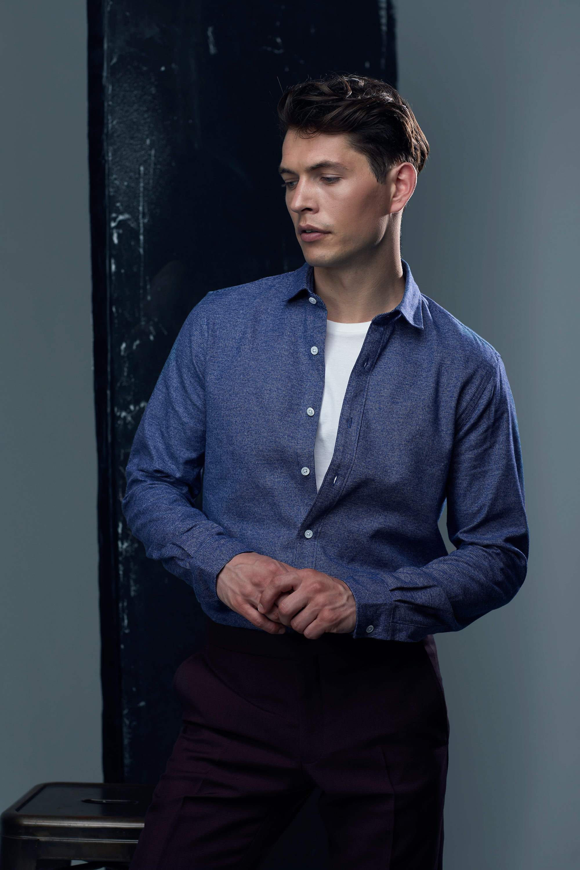 mr start truman style shirt with a t-shirt underneath for causal elegance
