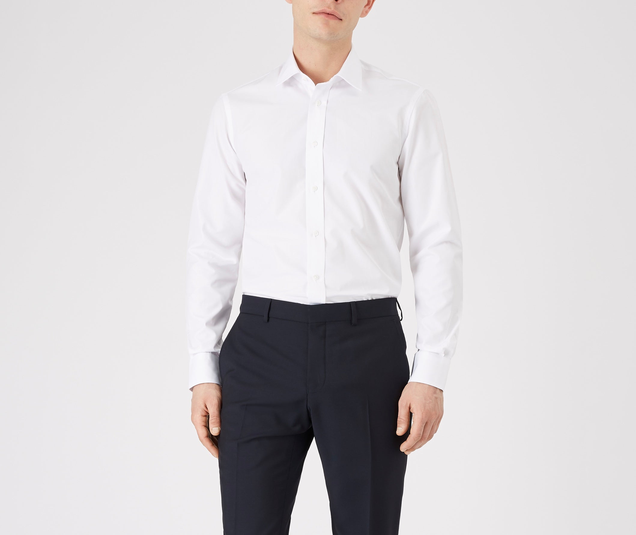 The ritz Slim Fit Shirt, with a mitred cuff and topstitched collar detail in beautiful Italian cloth, with a luxurious texture and appearance, from Mr. Start Shoreditch. Mens Slim fit shirt