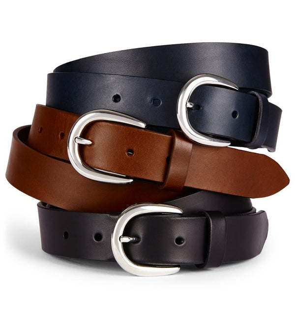 Flat Edge 30mm Leather Belt in Black