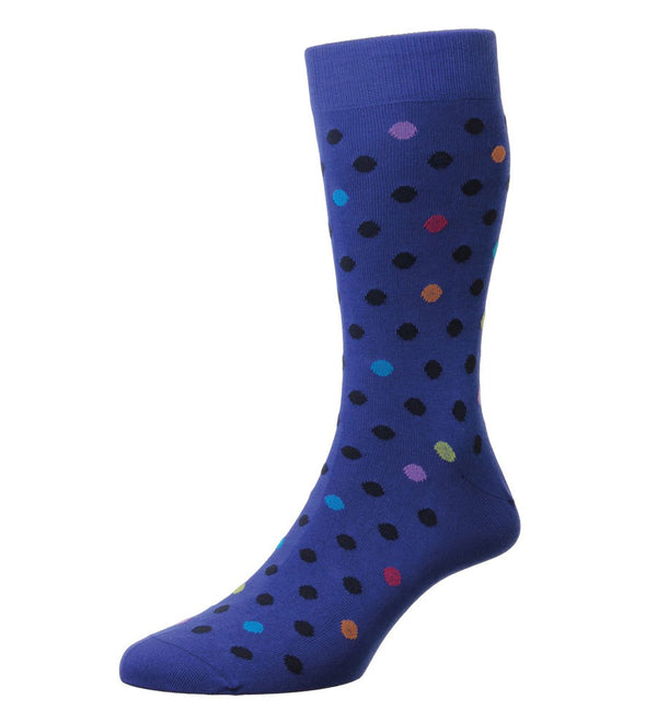 Somerford Royal Blue Spot Socks by Pantherella