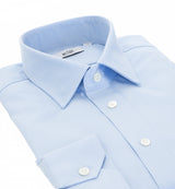 Ritz Slim Fit Pale Blue Cotton Shirt in Villa Weave