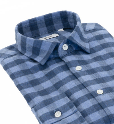 Truman Large Block Navy Check Shirt