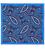 Bold Paisley Silk Twill Pocket Square in Blue