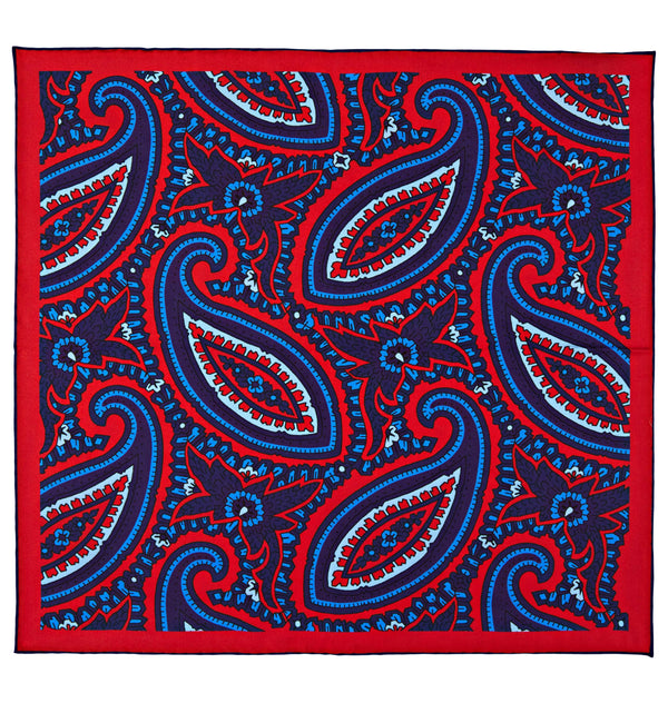 Bold Paisley Silk Twill Pocket Square in Red
