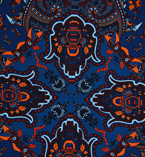 Ganesh Silk Twill Pocket Square in Orange