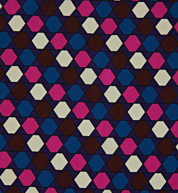 Graphic Hexagon Silk Twill Pocket Square in Brown