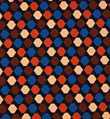 Graphic Hexagon Silk Twill Pocket Square in Orange