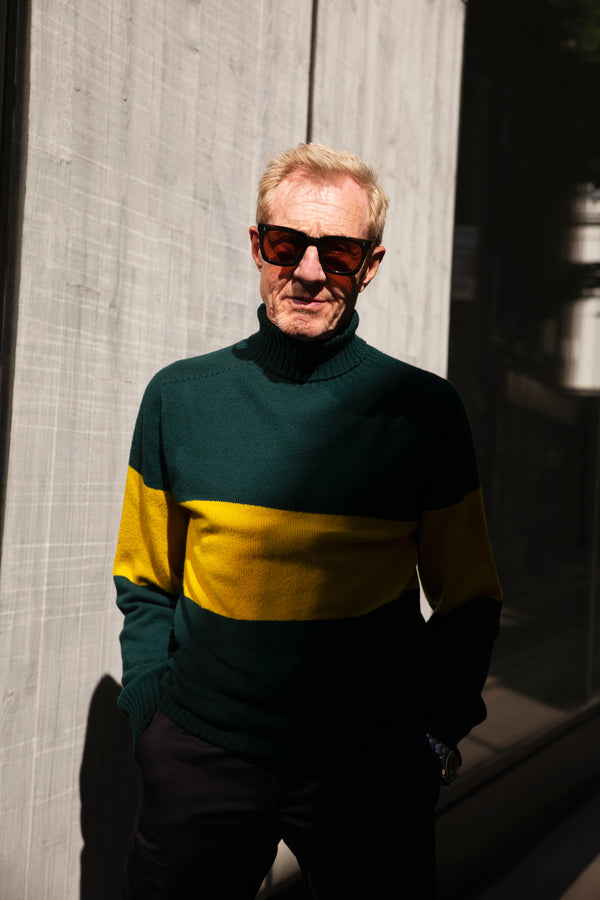 Kincorth Bold Stripe Geelong Roll Neck Sweater in Holly Green & Turmeric