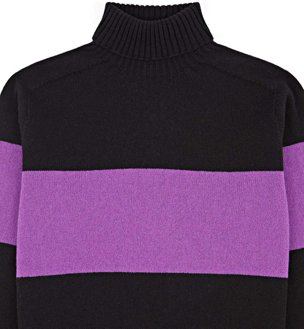 Kincorth Bold Stripe Geelong Wool Roll Neck In Black & Sari