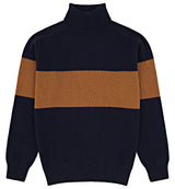 Kincorth Bold Stripe Geelong Roll Neck In Navy & Vicuna