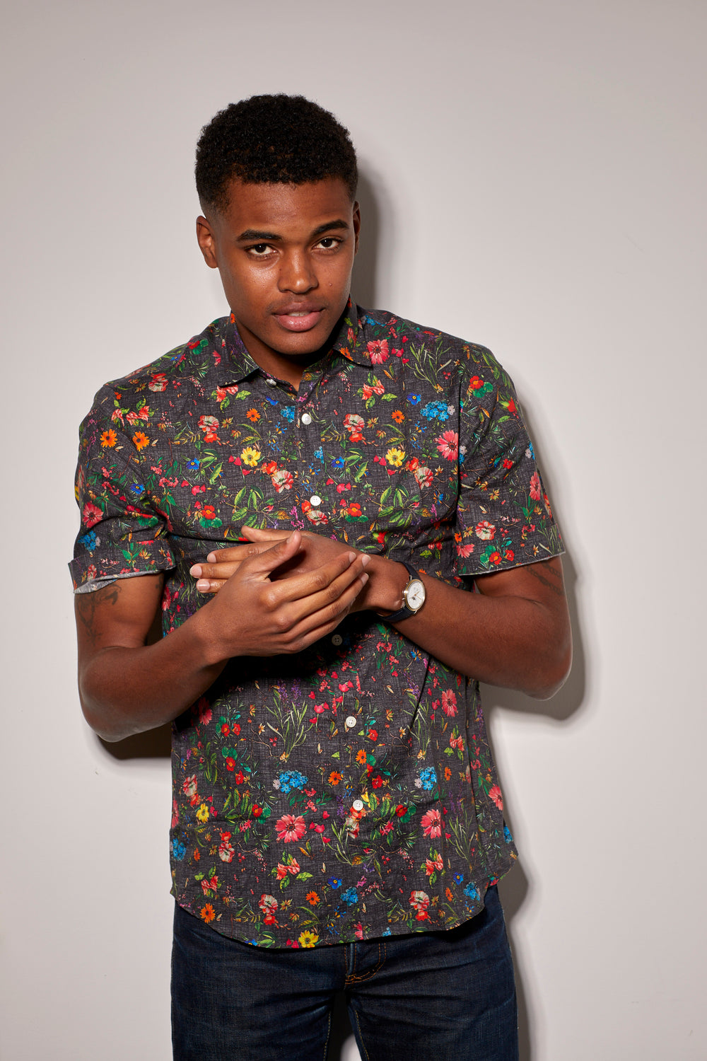 Factory Half Sleeve Pop Floral Print Shirt