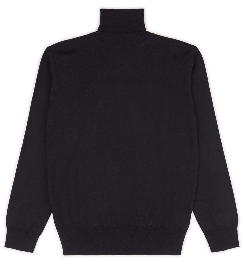 Black Hoi Polloi Merino Wool Roll Neck