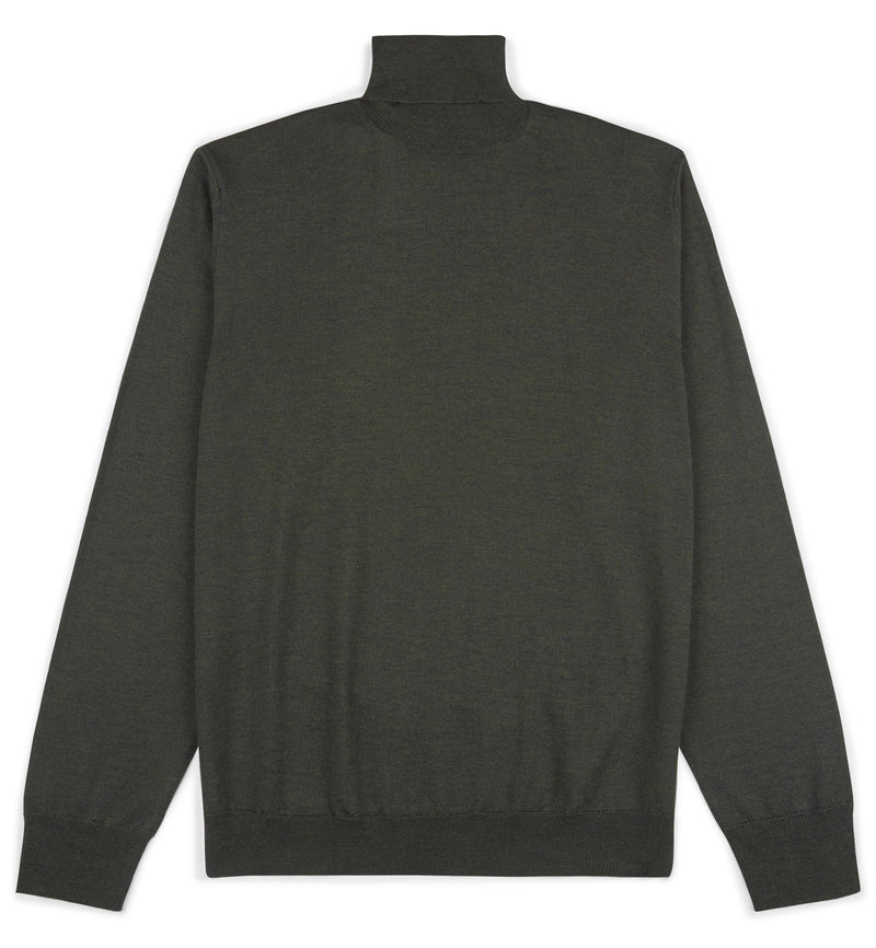 Olive Green Hoi Polloi Merino Wool Roll Neck