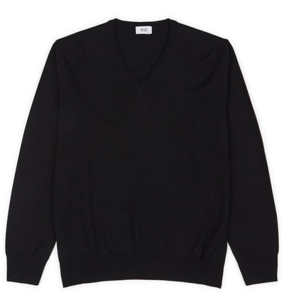 Black Hoi Polloi Superfine Merino V-Neck