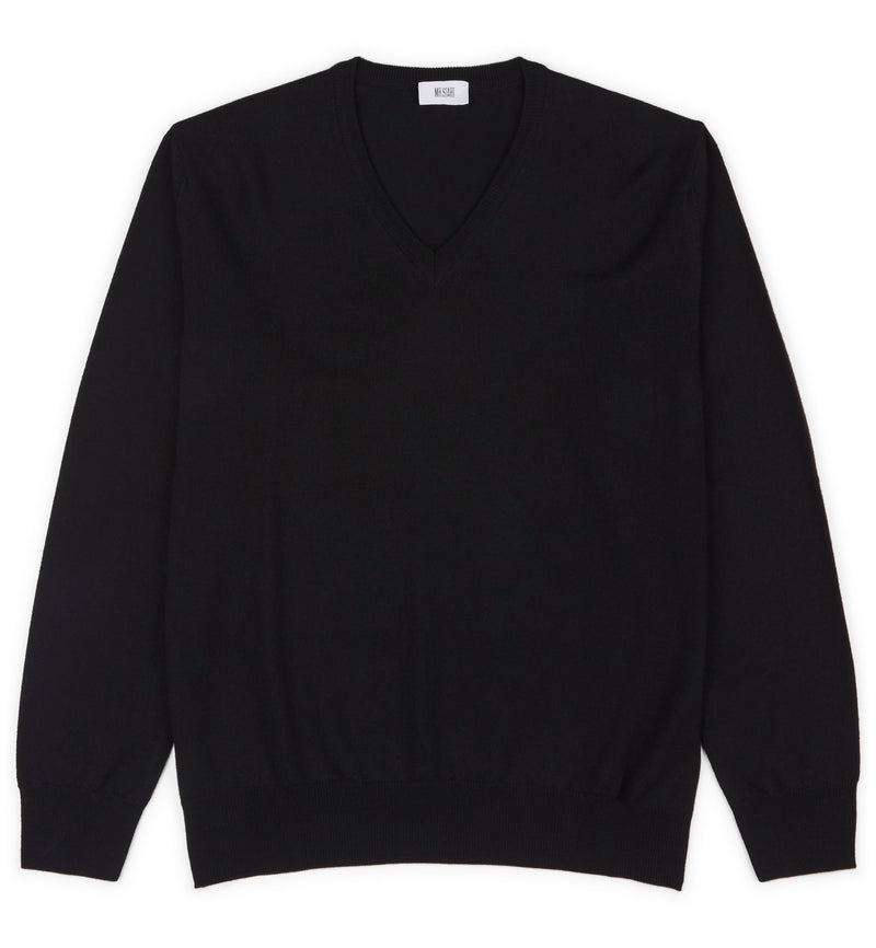 Hoi Polloi Superfine Merino V-Neck in Black