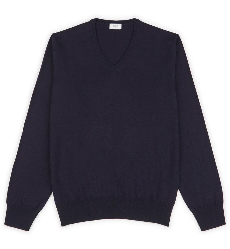 Navy Hoi Polloi Superfine Merino V-Neck