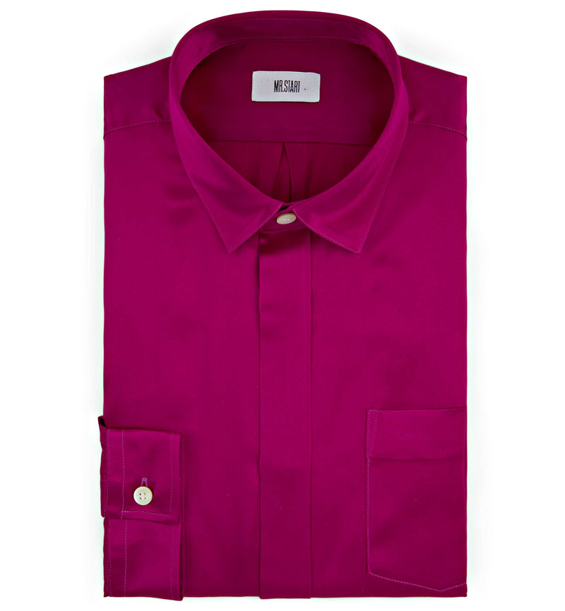Mr Start Woman Chloe Silk Boyfriend Shirt in Fucshia Pink