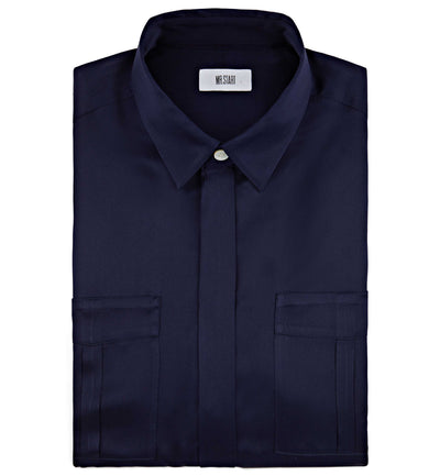 Mr Start Woman Safari Silk Shirt in Navy
